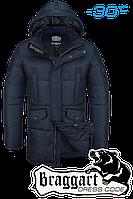 Куртка зимняя мужская удлиненная Braggart Dress Code - 2605A темно-синяя