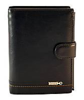 Кожаный чёрный тройной мужской кошелек DREAM art. M004-302-1A, фото 1