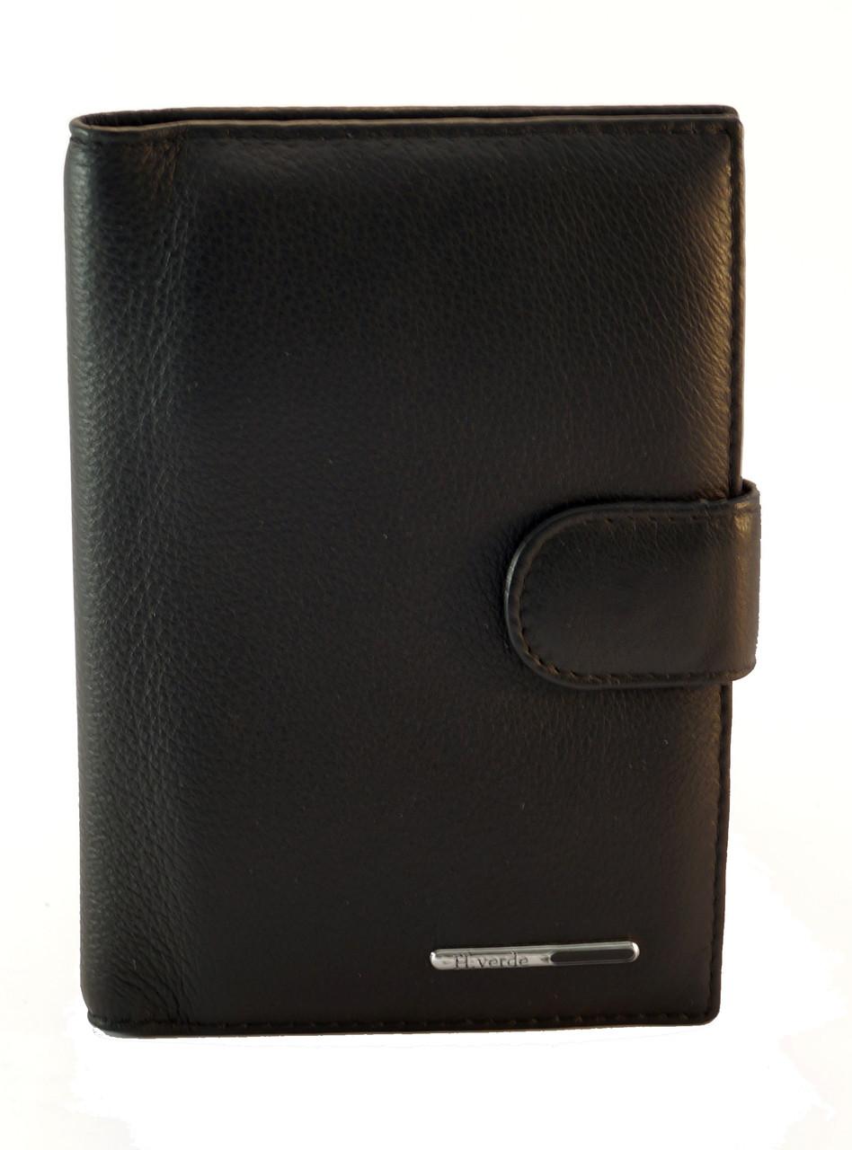 Кожаный мягкий недорогой мужской кошелек H.VERDE art. 2169 black