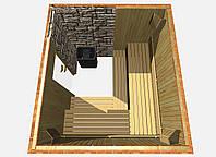 Баня с каменкой каминного типа