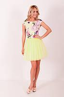 Женское желтое короткое платье с шифоновой юбкой ZEAN 5431