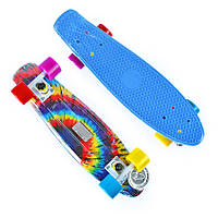 Пенни Борд Fish «Jazz» 22″ Разноцветные Колеса / пенниборд скейт (penny board), скейтборд с рисунком, фото 1