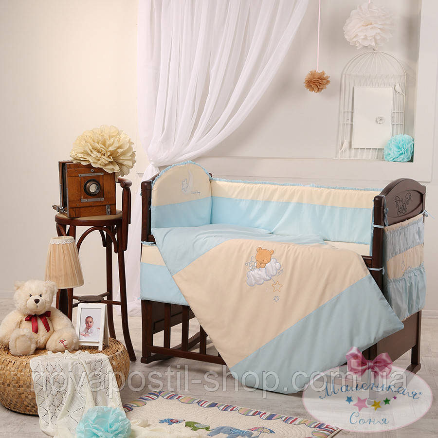 Набор в детскую кроватку Маленькая Соня голубой (6 предметов)