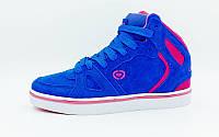 Кроссовки высокие Кожа CIRCA верх-кожа, подошва-TPU, синий-розовый