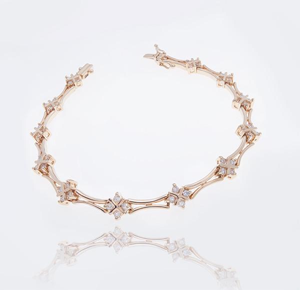 Женский браслет из желтого золота с бриллиантами С25Л1№13
