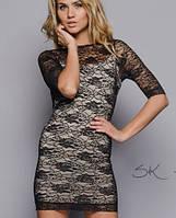 Платье гипюр | Короткое черное sk