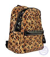 Рюкзак с заклепками из эко кожи леопардовый 507, фото 1