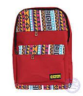Тканевый рюкзак в этно стиле - красный - 4151