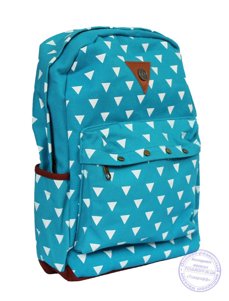Котоновый подростковый рюкзак - голубой - 7139