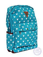 Котоновый подростковый рюкзак - голубой - 7139, фото 1