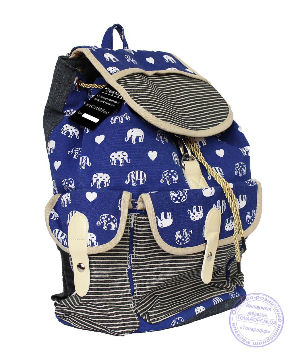 Рюкзак джинсовый для девочек - синий - 7189