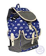 Рюкзак джинсовый для девочек - синий - 7189, фото 1