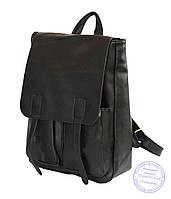 Классический черный рюкзак из эко-кожи - 9365
