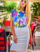 Платье с белой юбкой | Цветочная нежность sk