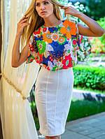 Платье с белой юбкой | Цветочная нежность sk оранж