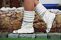 Белые сапожки рюшики с открытым носком. Арт-0142