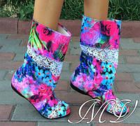 Яркие модные тканевые стильные женские летние сапожки с открытым носком и кружевными вставками. Арт-0143