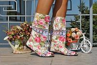 Нежные красивые летние стильные женские полусапожки Розочки с открытым носком и кружевными вставками. Арт-0144, фото 1