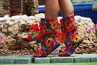 Яркие красные женские стильные летние тканевые полусапожки с открытым носком и кружевными вставками. Арт-0145, фото 1