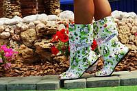 Яркие полусапожки Далматинцы с открытым носком. Арт-0146