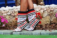 Летние полосатые женские тканевые молодежные сапожки с открытым носком и кружевными вставками. Арт-0147