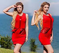 """Элегантное женское коктейльное платье с баской """"Трио"""" в расцветках, фото 1"""