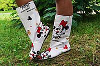 Стильные белые осенне-весенние женские тканевые сапоги Микки Маус с открытым носком. Арт-0148, фото 1
