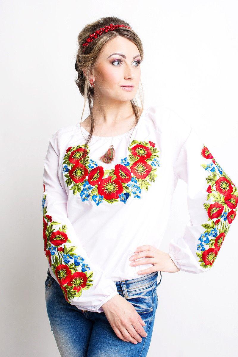 Белая женская блузка вышиванка с длинными рукавами