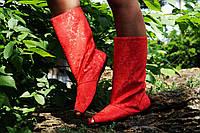 Красные тканевые полусапожки с открытым носком. Арт-0152