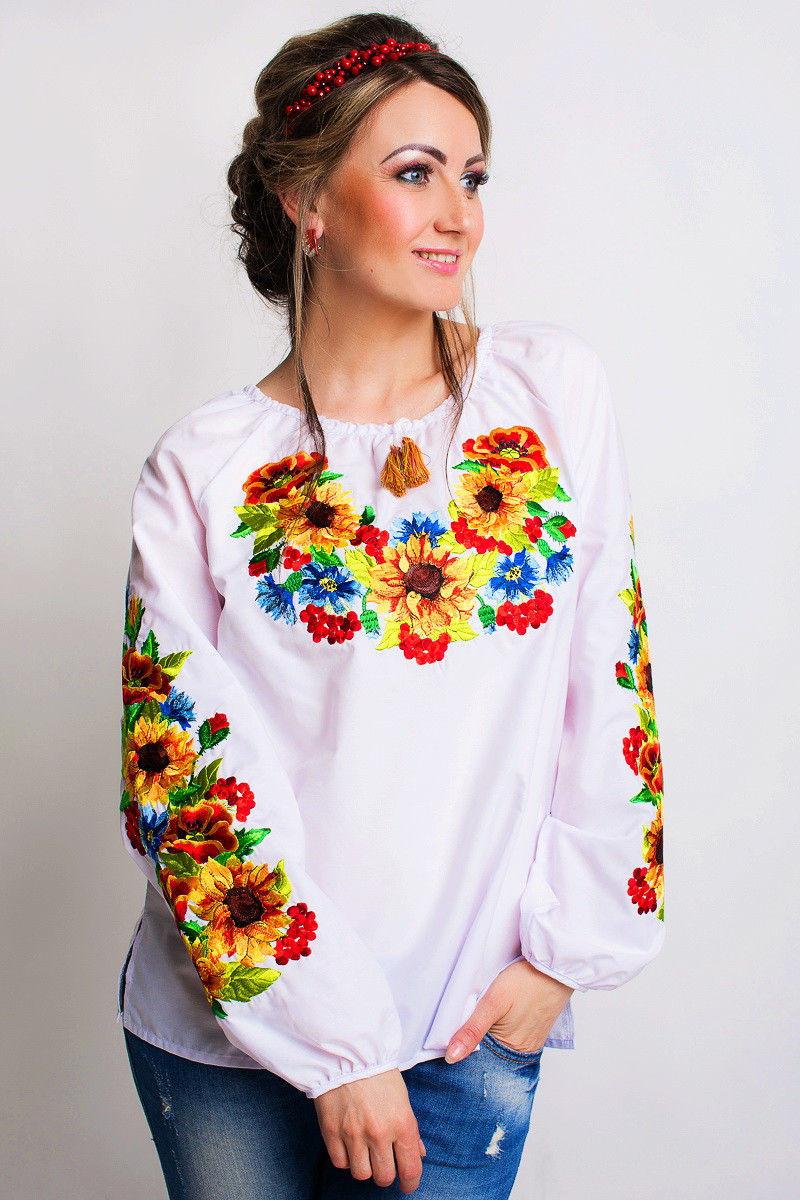 Вышиванка блузка «Украинский Подсолнух» с длинными рукавами