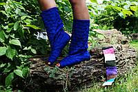 Синие однотонные женские тканевые весенние полусапожки жатка с открытым носком. Арт-0153, фото 1