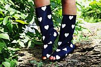 Темно-синие сапоги Сердечки с открытым носком. Арт-0155