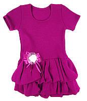 Платье вязаное трикотажное с коротким рукавом для девочки