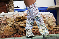 Стильные летние сапожки Розочки с кружевом. Арт-0158, фото 1