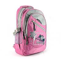 Текстильный розовый рюкзак для школы, фото 1