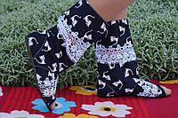 Модные черные сапоги Кошечки с открытым носком. Арт-0159