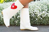 Белые стильные женские осенне-весенние сапоги Сердце с открытым носком. Арт-0157, фото 1