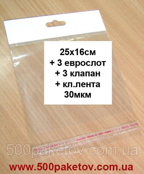 Пакет с еврослотом 25х16см +к/л