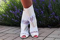 Летние белые стильные полусапожки с открытым носком. Арт-0171