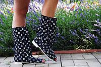 Модные черно-белые женские полусапожки с открытым носком в стиле Луи Витон . Арт-0175