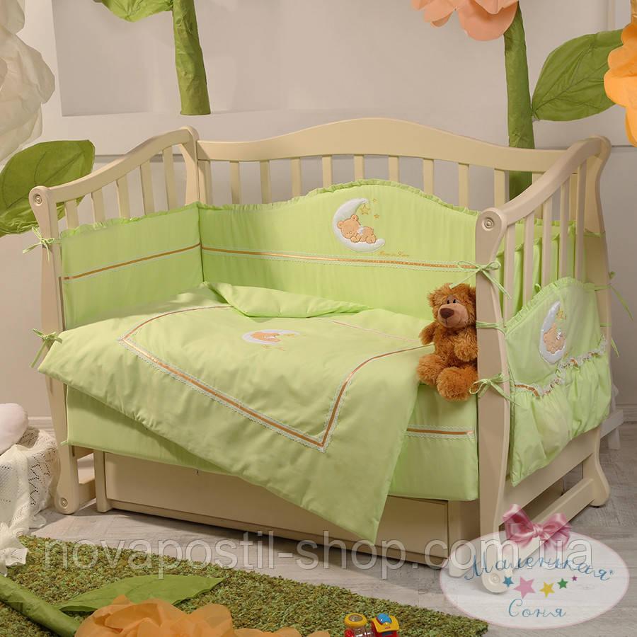 Набор в детскую кроватку Teddy салатовый (6 предметов)