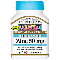 Цинк, 50 мг, 110 таблеток, 21st Century. Сделано в США