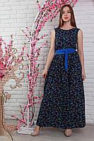 Длинное летнее штапельное платье с красивым принтом.