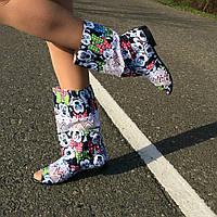 Стильные летние яркие сапожки микки с открытым носком. Арт-0540