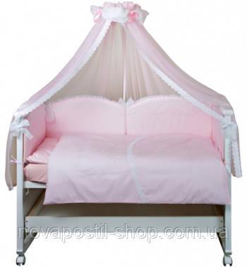 Набор в детскую кроватку Drim розовый (7 предметов)