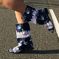 """Синие стильные женские летние полусапожки """"Лебеди"""" с открытым носком и кружевными вставками. Арт-0170"""