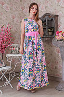 Длинное летнее штапельное платье с цветочным принтом.