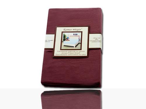 Простынь на резинке трикотажная (шоколадная) 160 ˣ 200