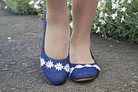 Синие джинсовые женские балетки с кружевом на носках. Арт-0547, фото 1