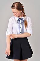 Красивая подростковая блуза  с кружевом для школы